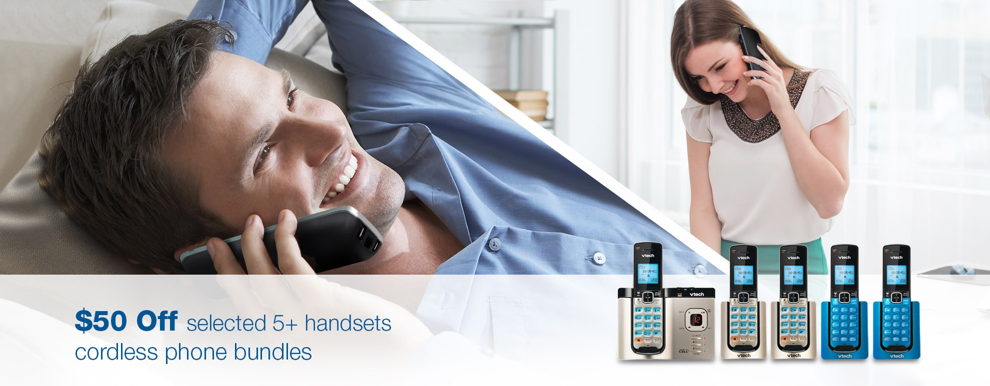 $50 off selected 5+ handsets cordless phone bundles