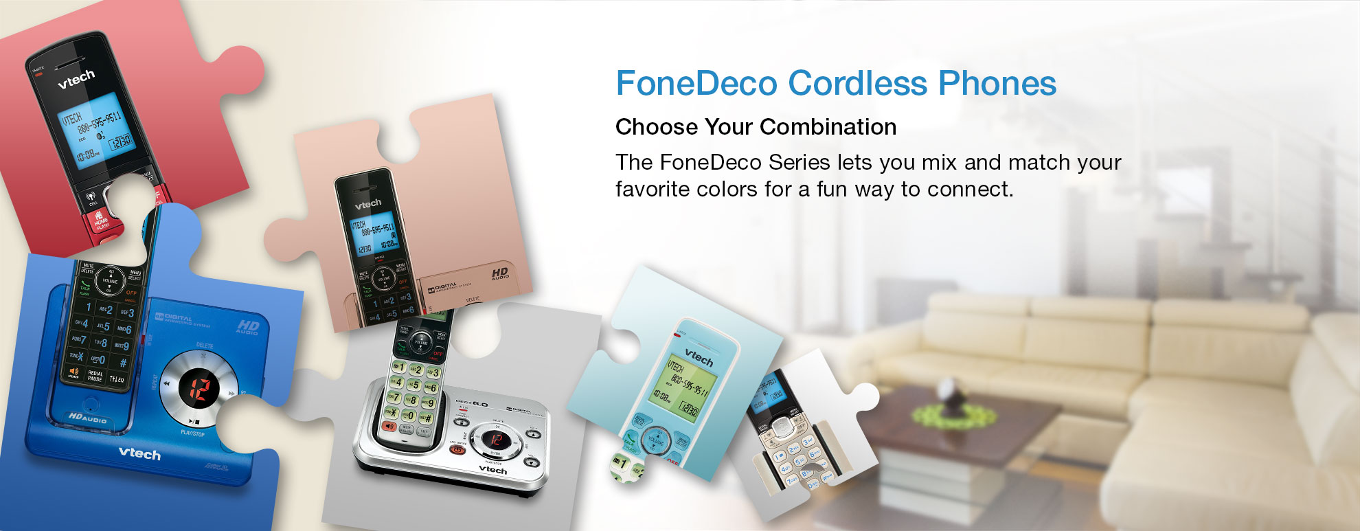FoneDeco Cordless Phones - Choose Your Combination - The FoneDeco Series lets you mix and match your favorite colors for a fun way to connect.
