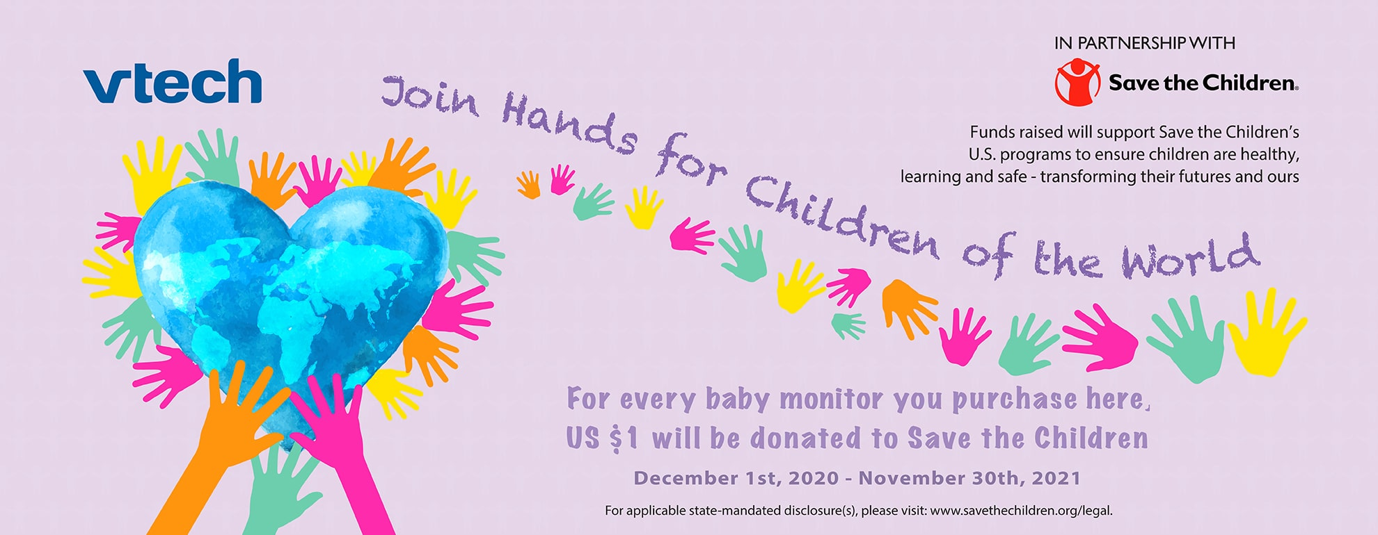 Join Hands for Children of the World - For every baby monitor you purchase, $1 USD will be donated to Save the Children