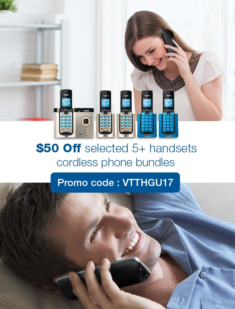 $50 Off selected 5+ handsets cordless phone bundles. Promo code: VTTHGU17