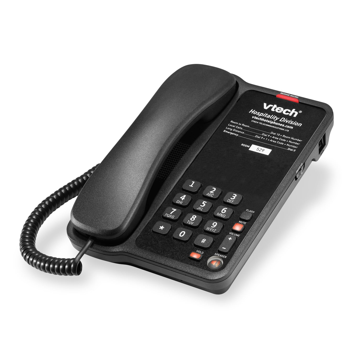 Image of 1-Line Classic Analog Corded Phone | A1210-A Matte Black
