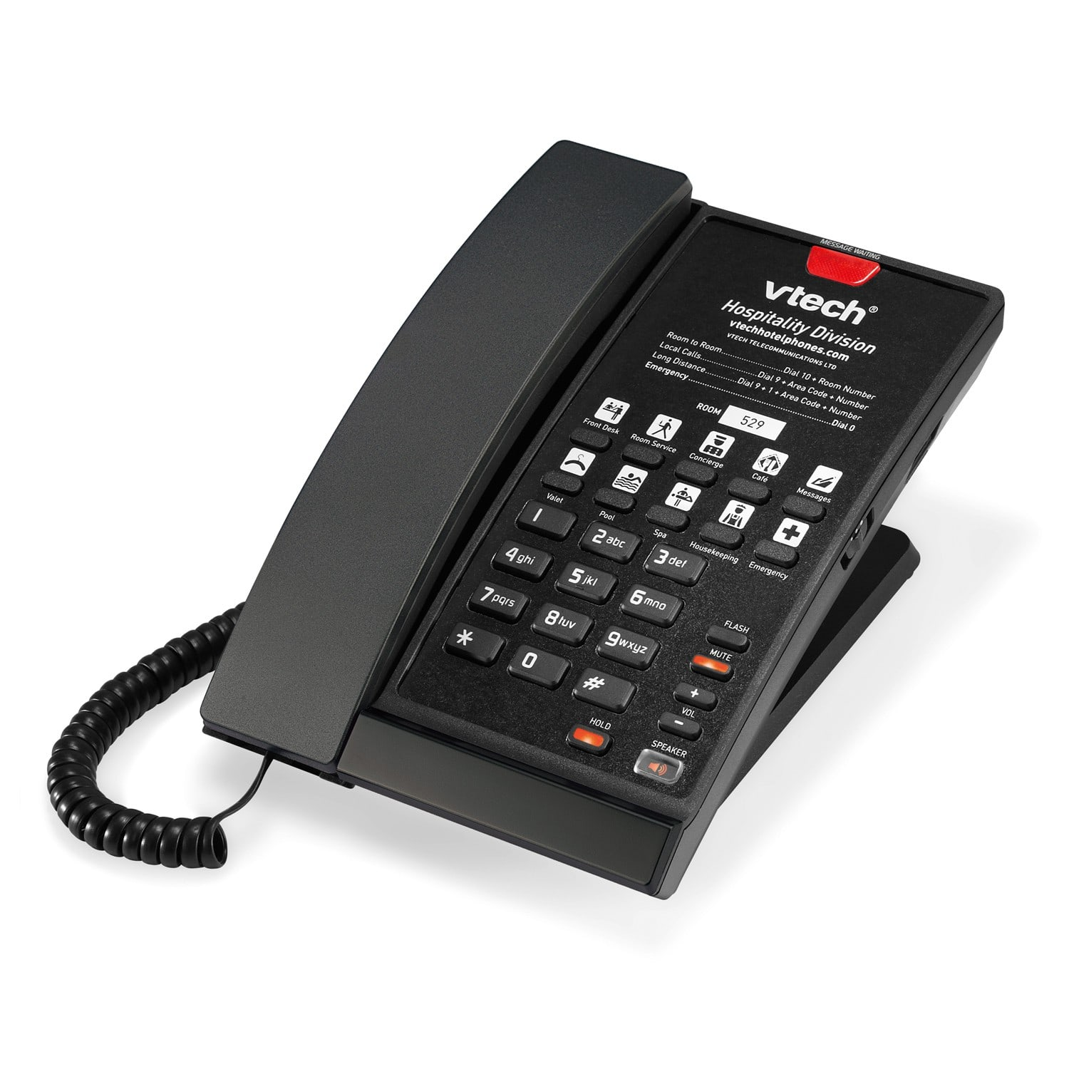 Image of 1-Line Contemporary Analog Corded Phone | A2210 Matte Black