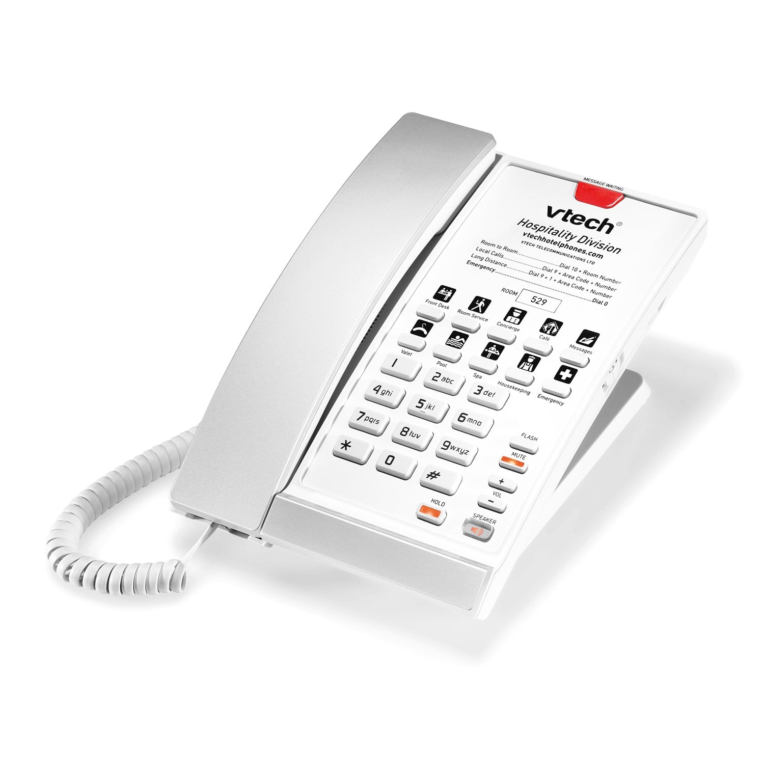 Image of 1-Line Contemporary Analog Corded Phone | A2210 Silver & Pearl