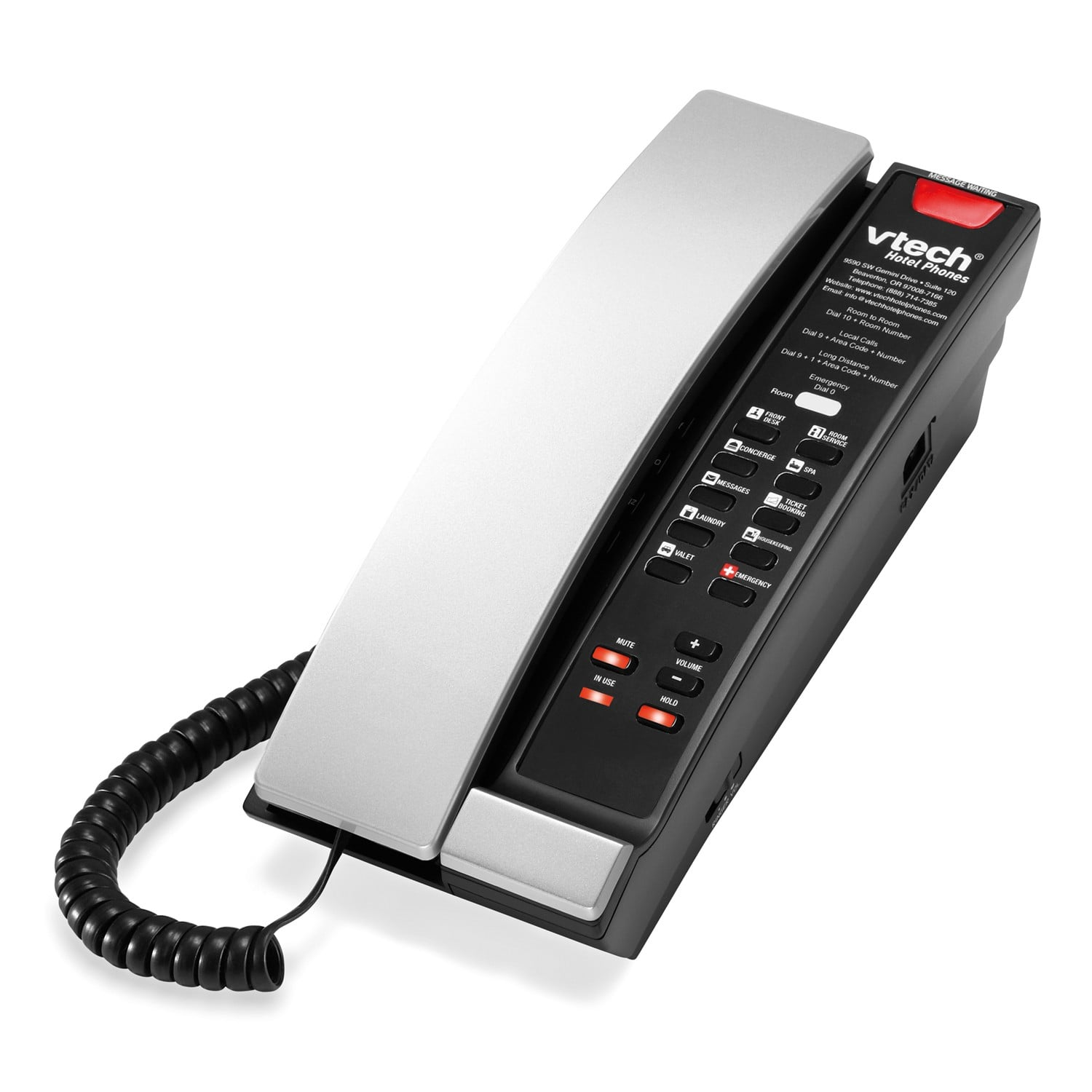 Image of 1-Line Contemporary Analog Petite Phone | A2211 Silver & Black