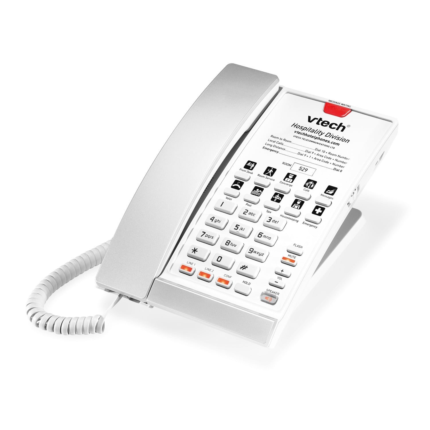 Image of 2-Line Contemporary Analog Corded Phone | A2220 Silver & Pearl