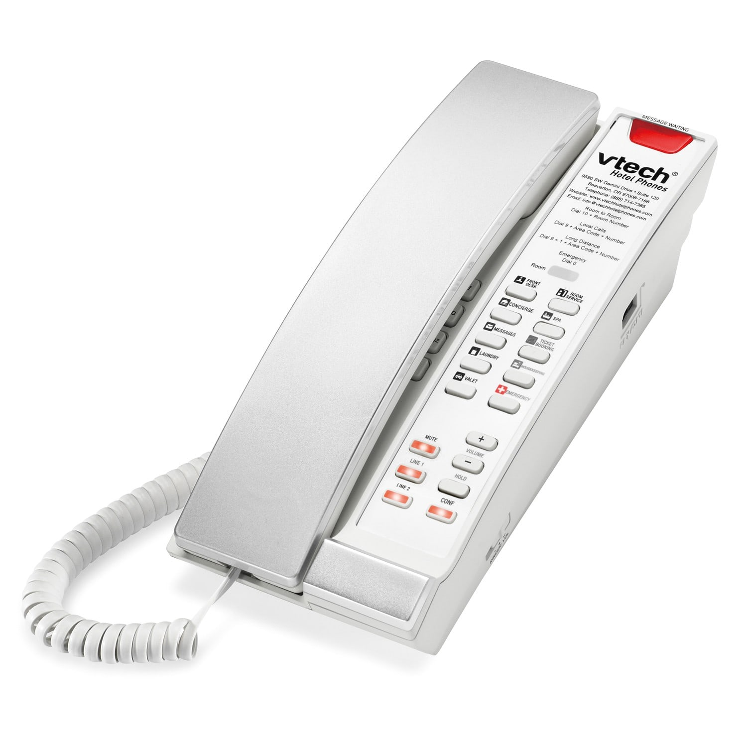 Image of 2-Line Contemporary Analog Petite Phone | A2221-L2 Silver & Pearl