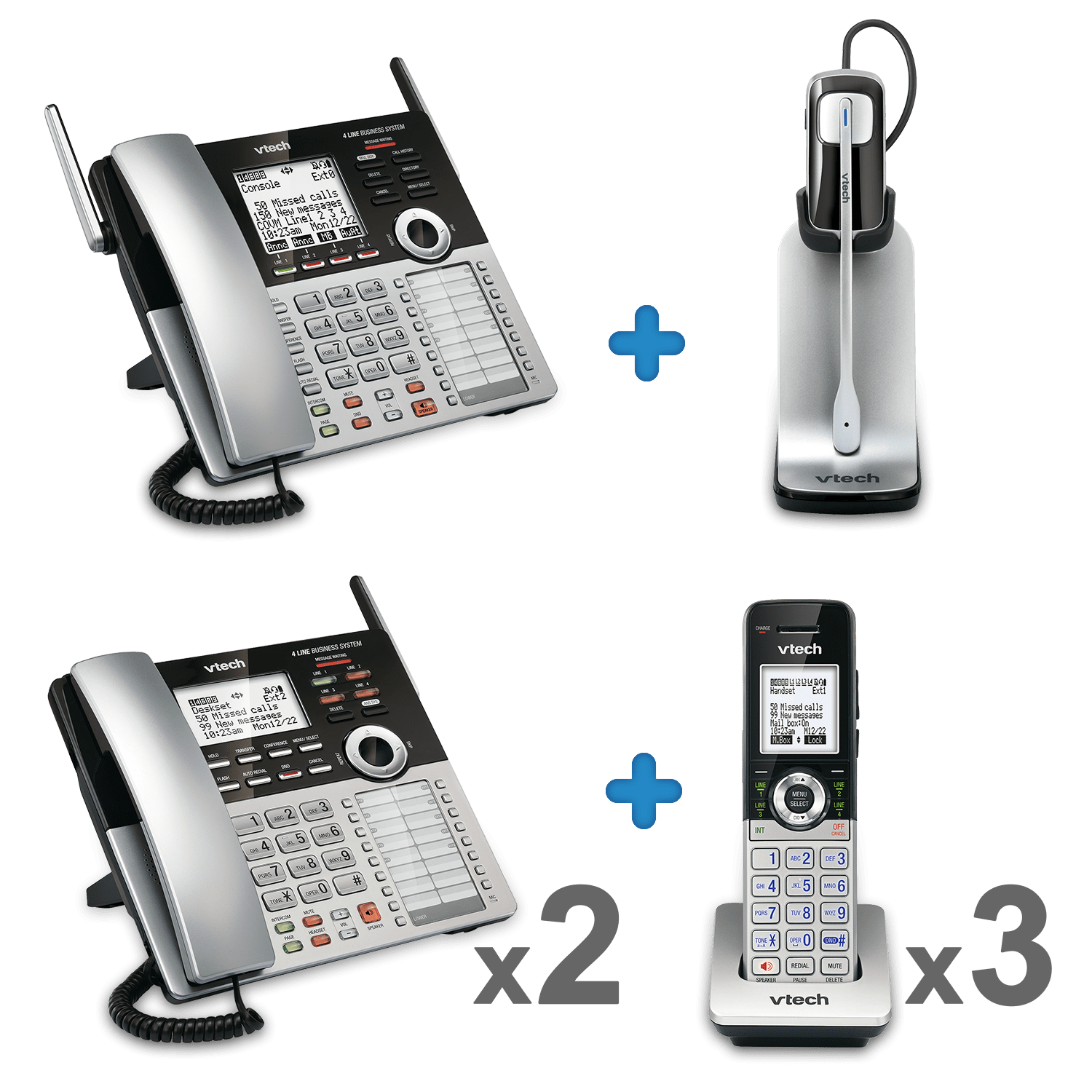 4 line small business phone system office bundle 2 sbs ob2 vtech cordless phones. Black Bedroom Furniture Sets. Home Design Ideas