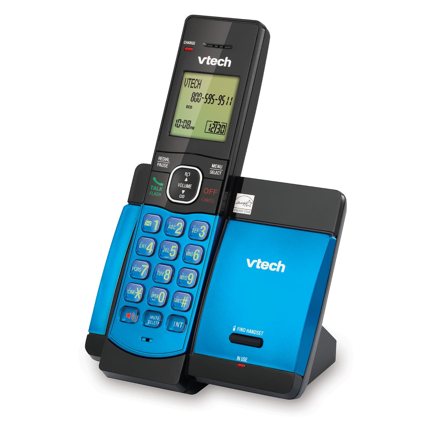 Blue Cordless Phone with Caller ID/Call Waiting