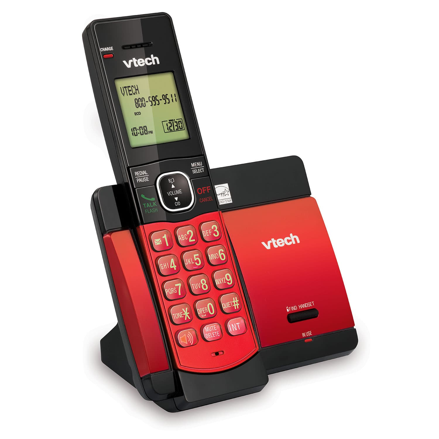 Red Cordless Phone with Caller ID/Call Waiting