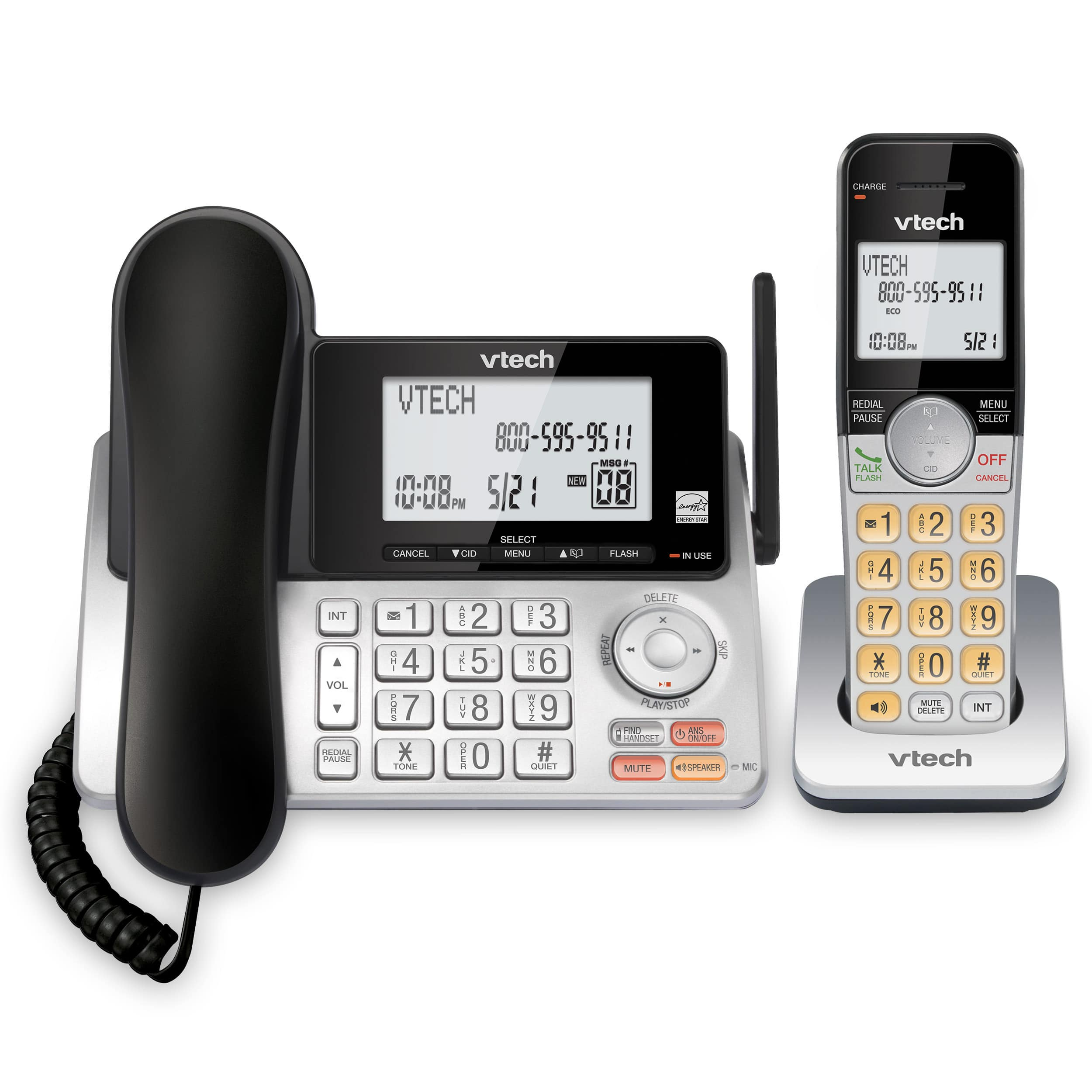 Extended Range Dect 6 0 Expandable Corded Cordless Phone With Answering System Cs5249 Cs5249 Vtech Cordless Phones