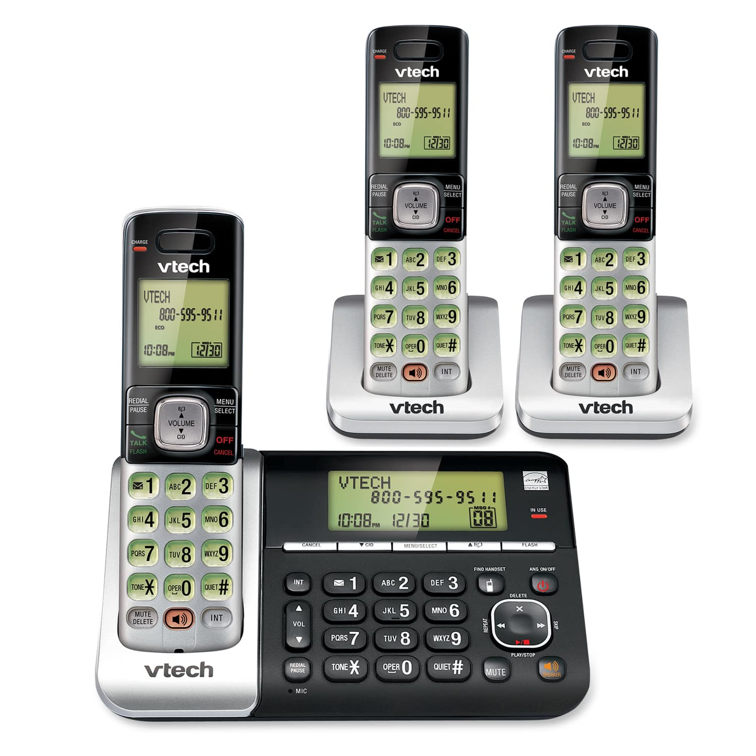 3 Handset Answering System with Dual Caller ID/Call Waiting
