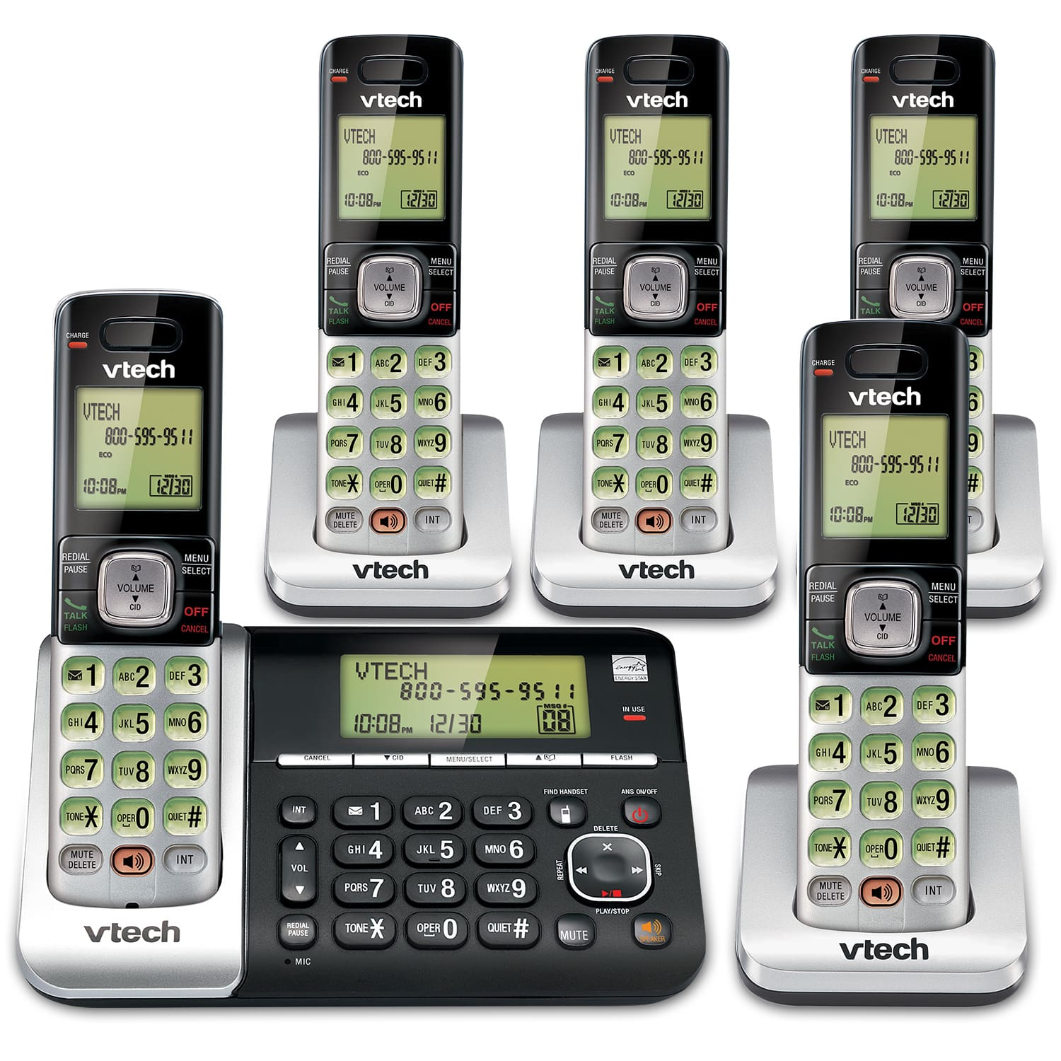 5 Handset Phone System with Dual Caller ID Call Waiting