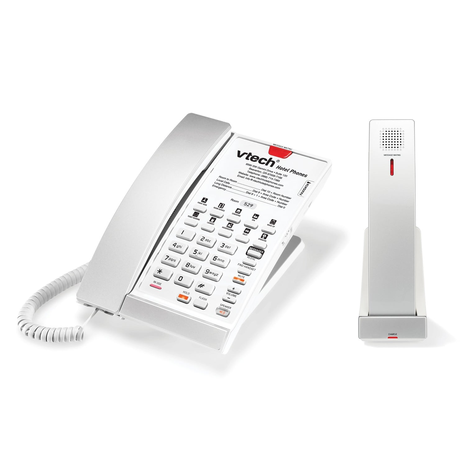 Image of Contemporary Analog Master Corded-Cordless Phone with Accessory Handset | CTM-A2510-USB Silver & Pearl