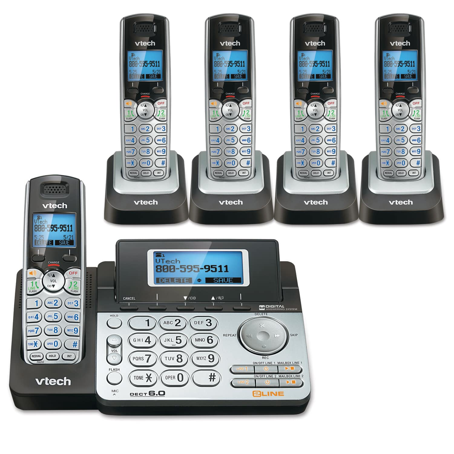 2-Line 5 Handset Answering System with Dual Caller ID/Call Waiting