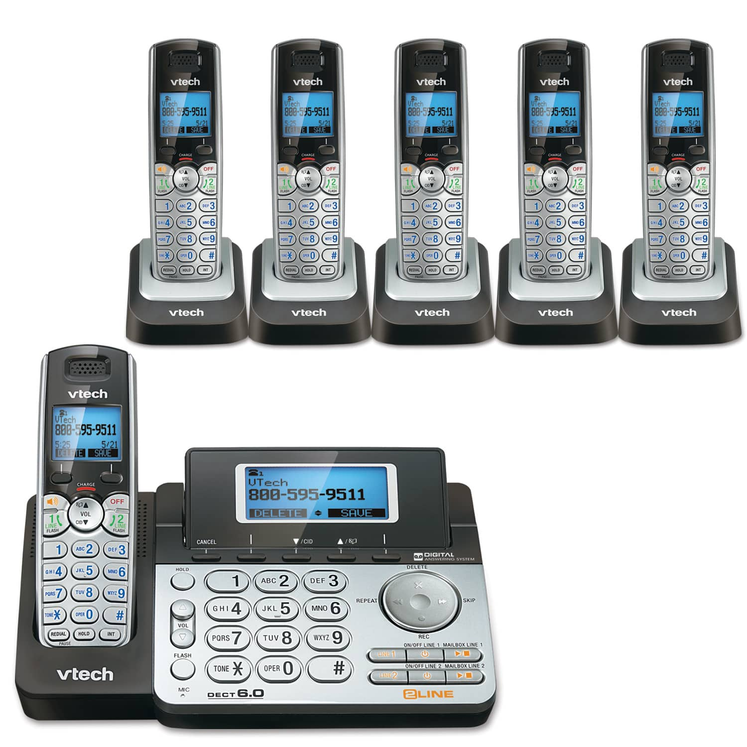 2-Line 6 Handset Answering System with Dual Caller ID/Call Waiting
