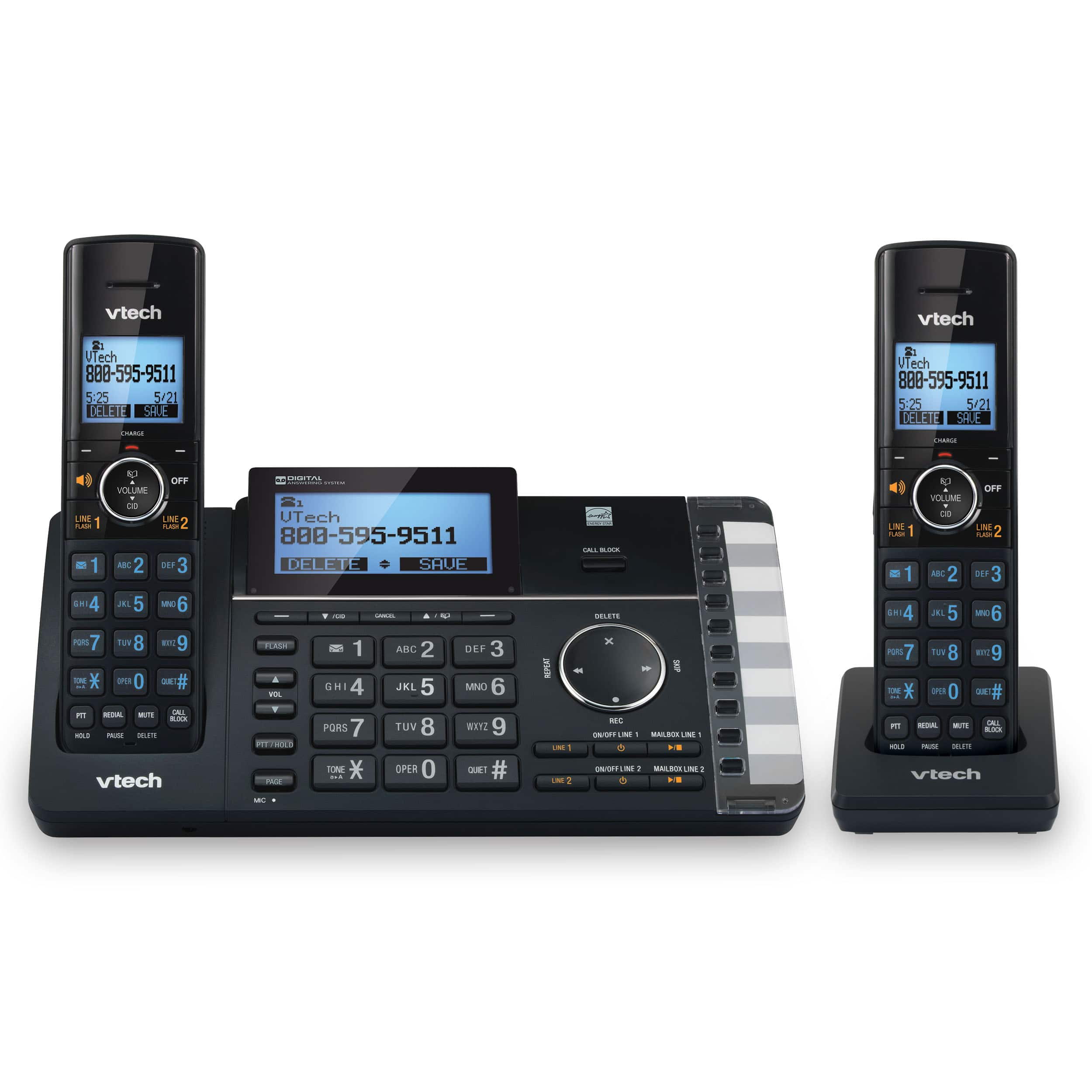 2 Line Handset Cordless Phone With Answering System Smart Call Blocker Ds6251 Vtech Phones