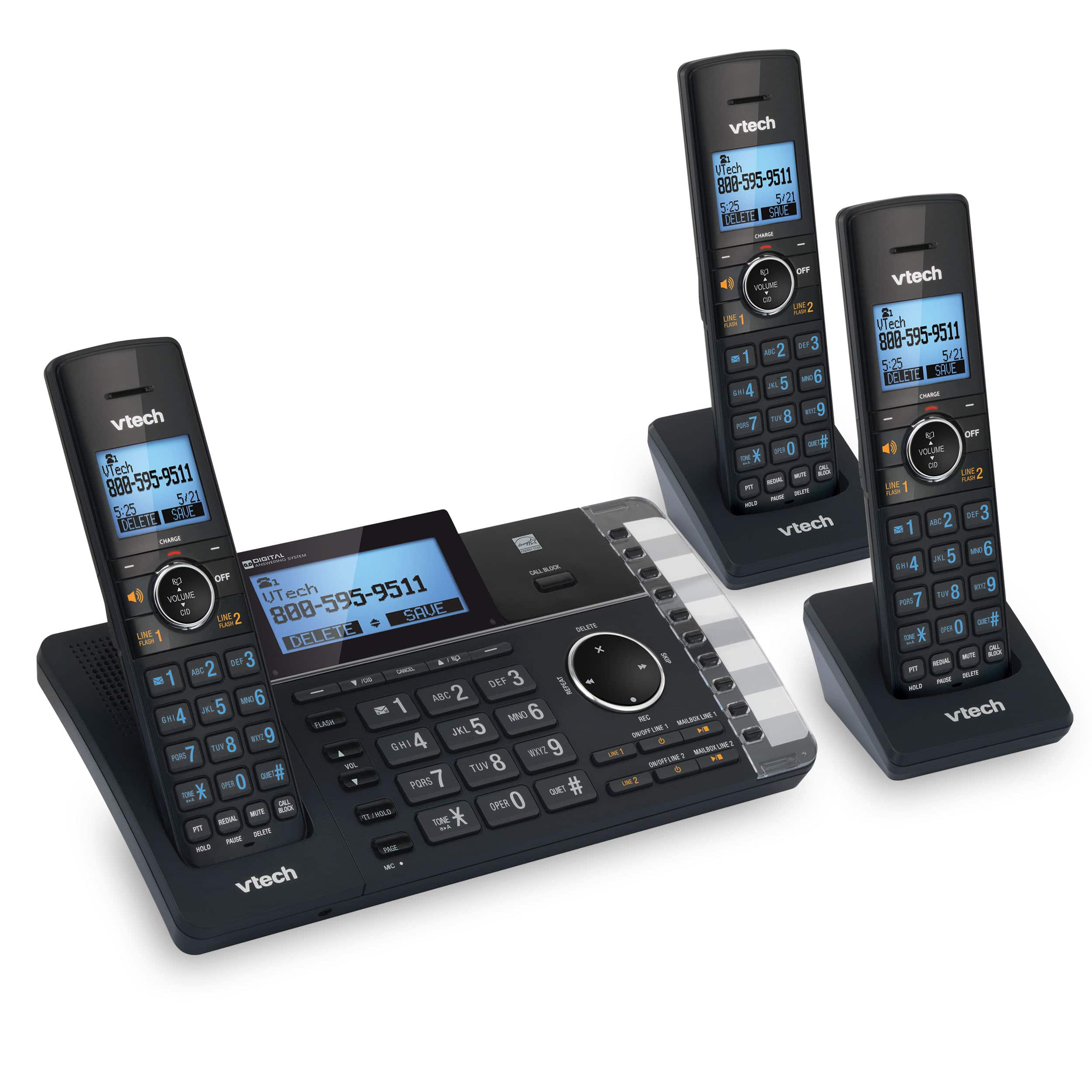 3 Handset 2-Line Cordless Answering System with Smart Call Blocker