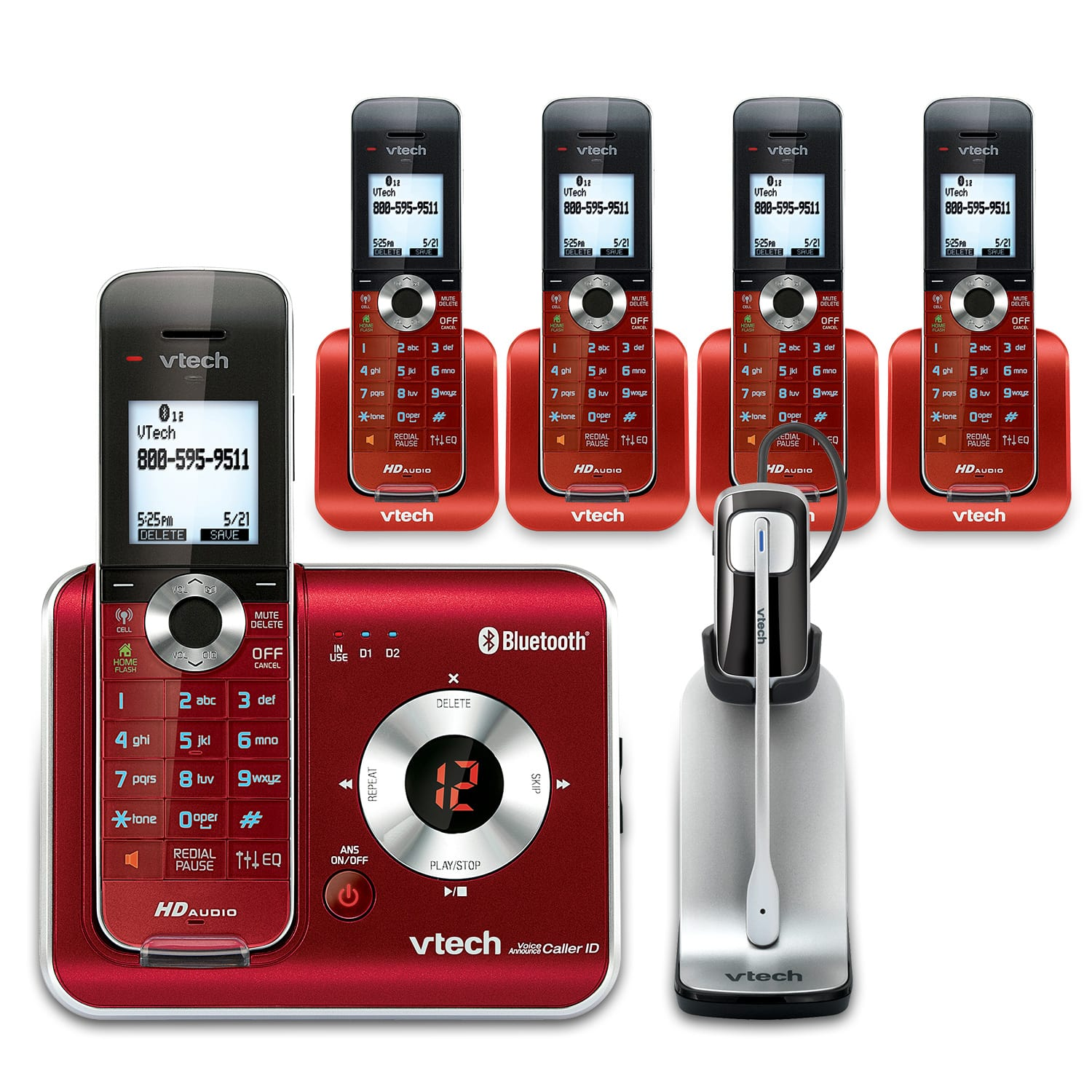 5 Handset Connect to Cell™ Phone System with Cordless Headset
