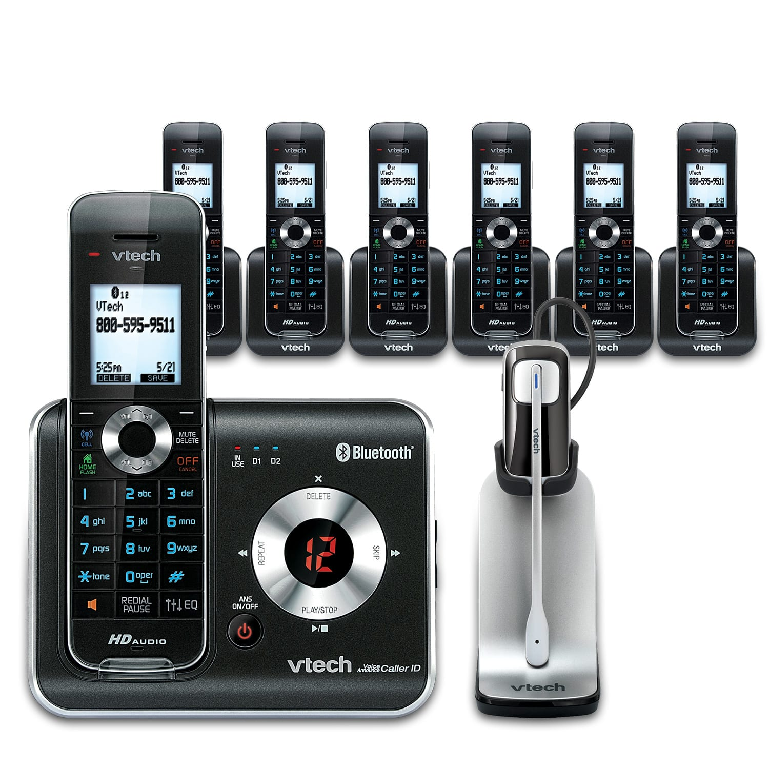 7 Handset Connect to Cell™ Phone System with Cordless Headset