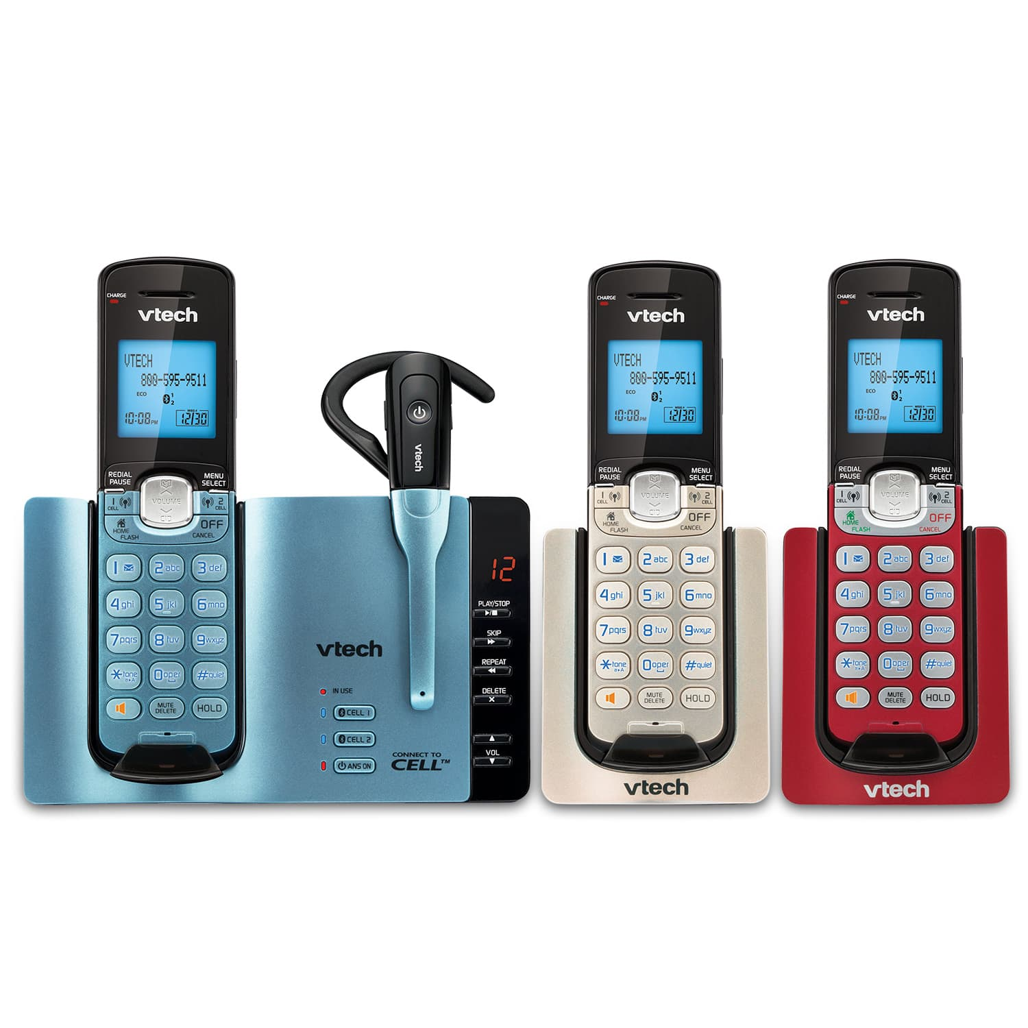 3 handset connect to cell phone system with cordless headset rh vtechphones com VTech Phone User Manual VTech Telephone User Manual