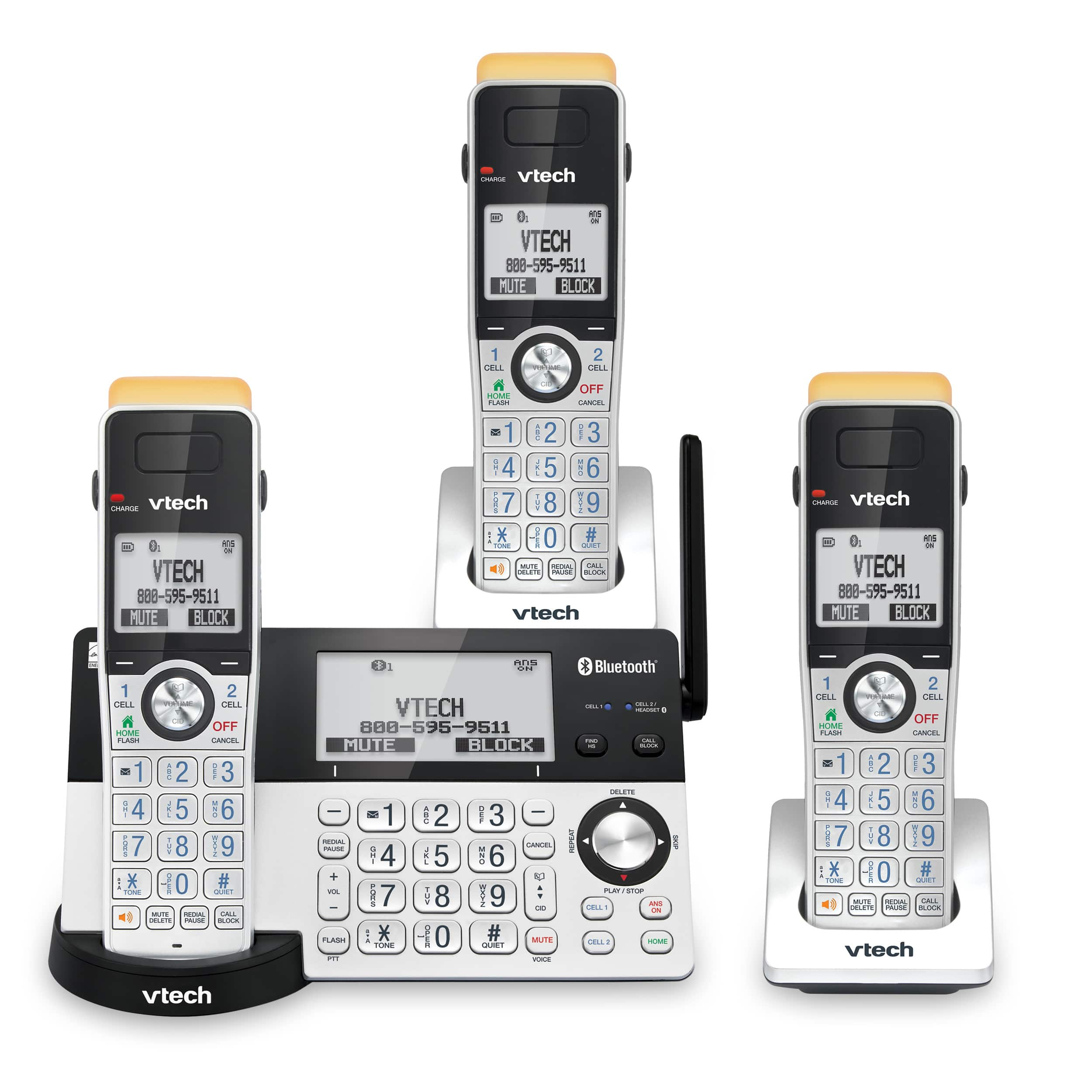 3-Handset Expandable Cordless Phone with Super Long Range, Bluetooth Connect to Cell, Smart Call Blocker and Answering System, IS8151-3