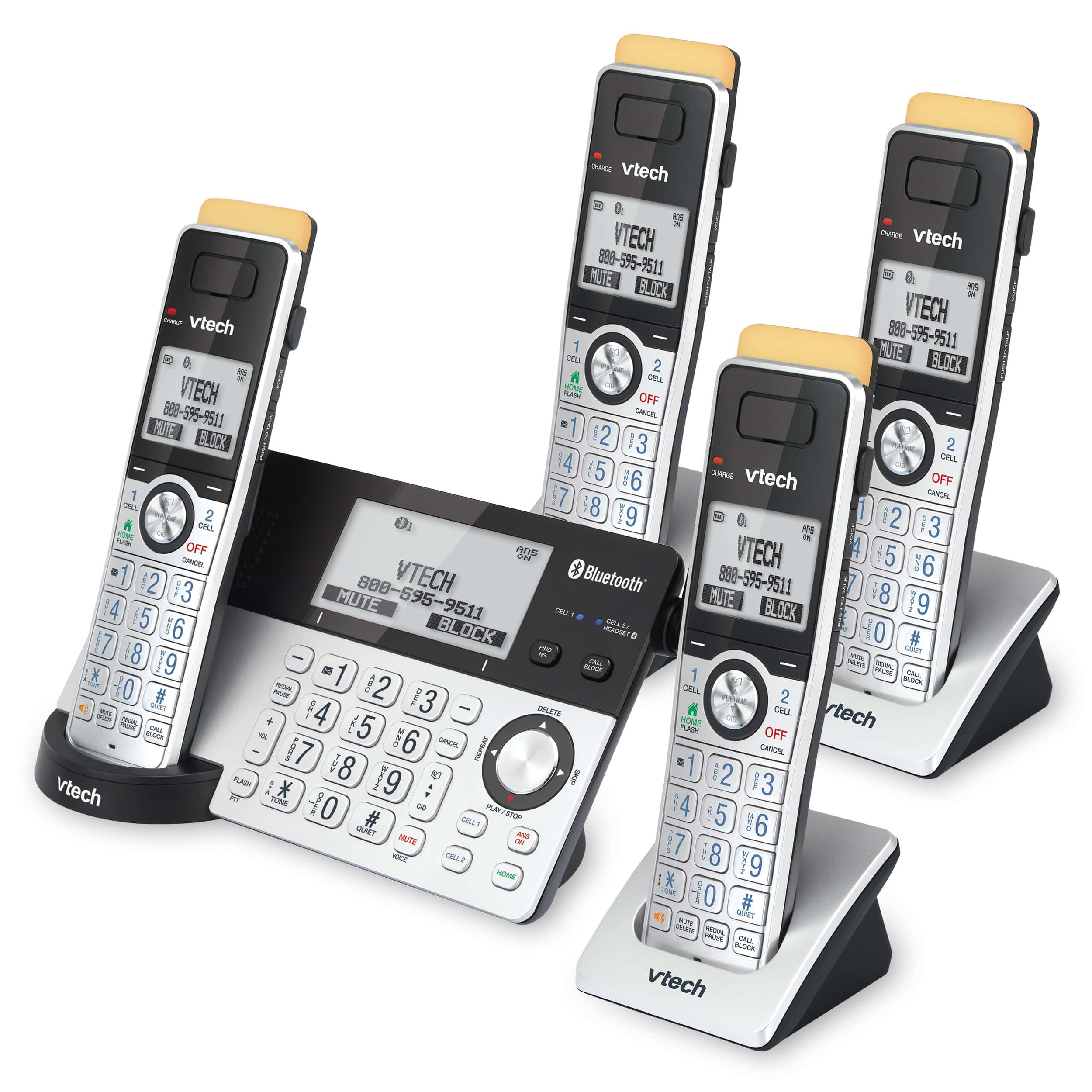 4-Handset Expandable Cordless Phone with Super Long Range, Bluetooth Connect to Cell, Smart Call Blocker and Answering System, IS8151-4