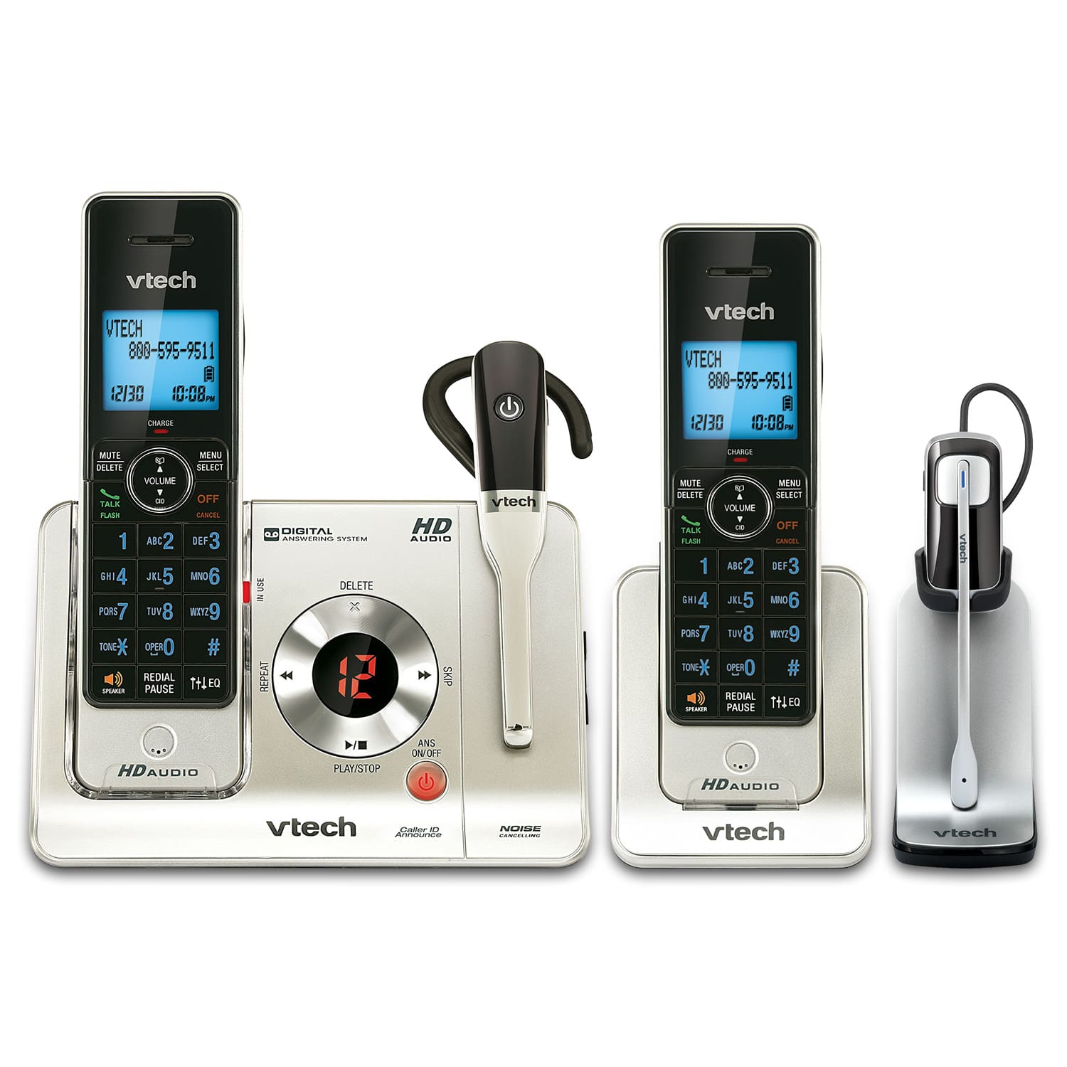 fac5762406d6 2 Handset Cordless Phone System with Two Cordless Headsets   LS6475-3 + one  IS6200   VTech® Cordless Phones