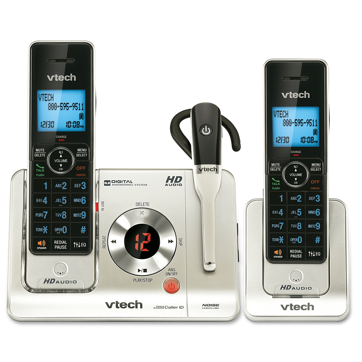 2 Handset Answering System With Cordless Headset Ls6475 3 Vtech Cordless Phones