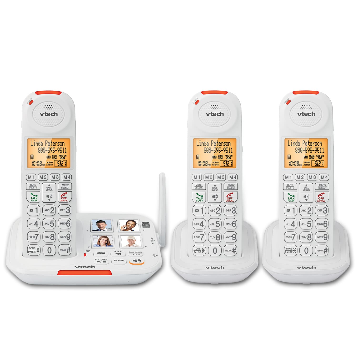 3 Handset Amplified Cordless Answering System with Big Buttons and Display