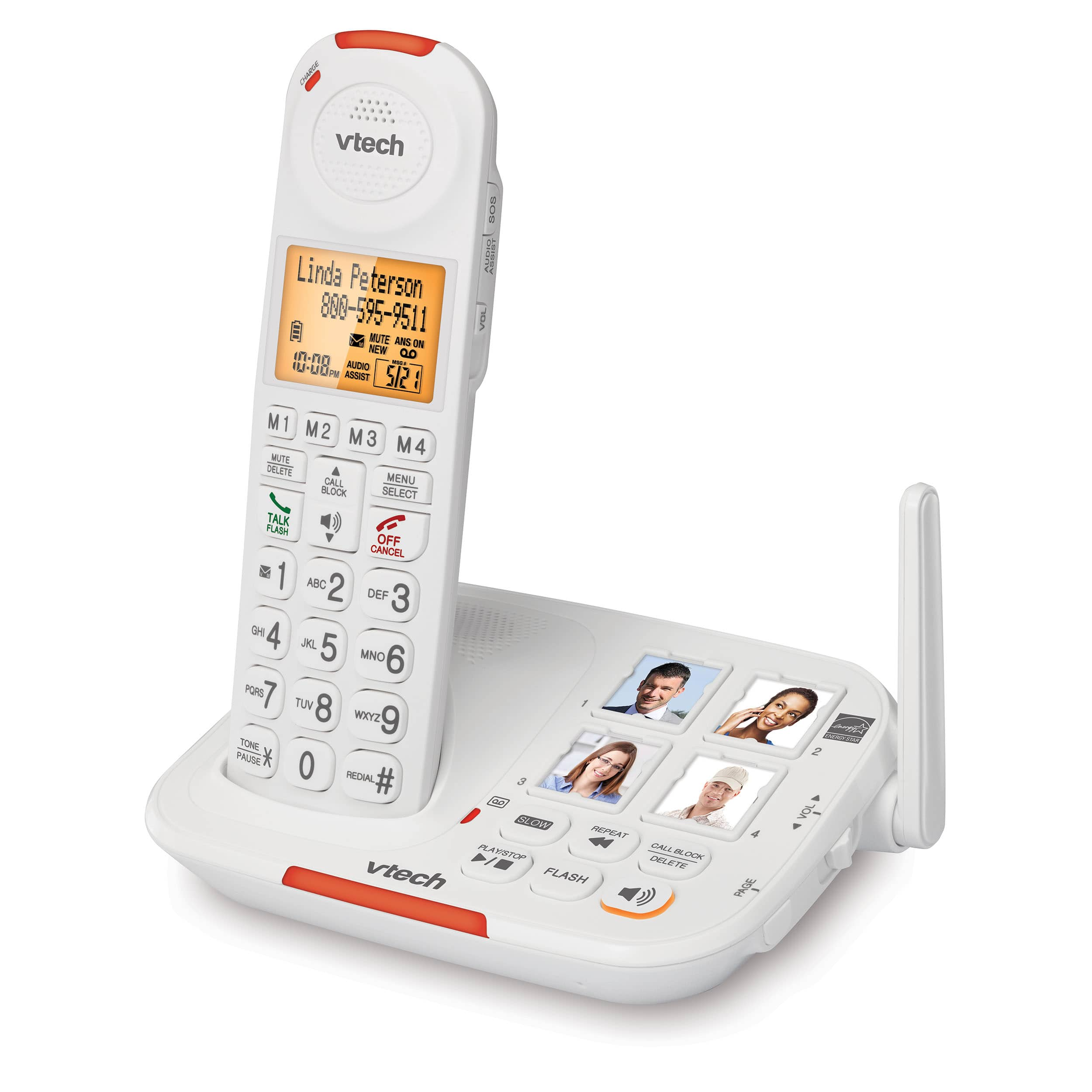 4 Handset Amplified Cordless Answering System with Big Buttons and Display