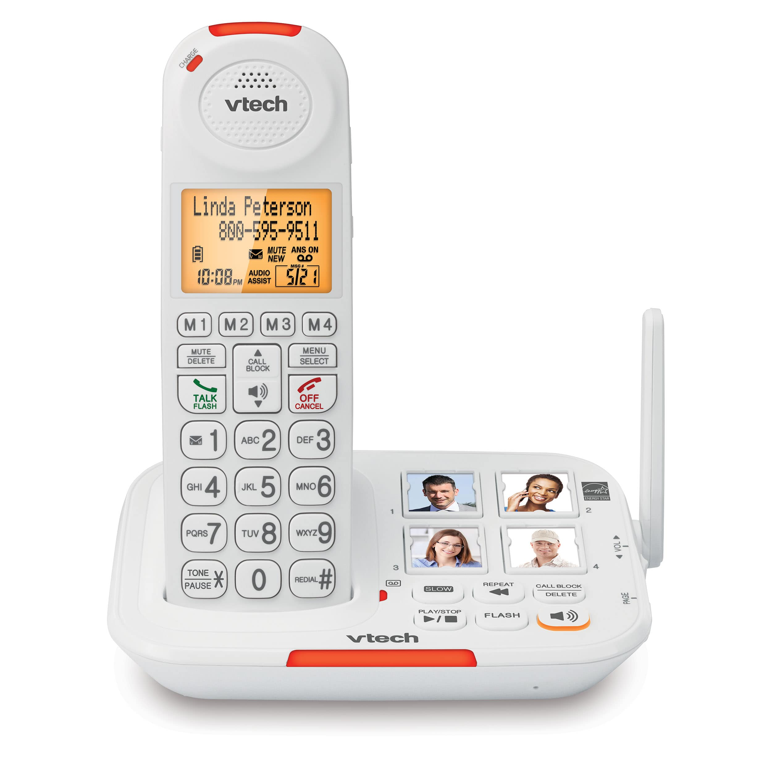 Amplified Cordless Phone with Answering System, Big Buttons, Extra-Loud Ringer & Smart Call Blocker