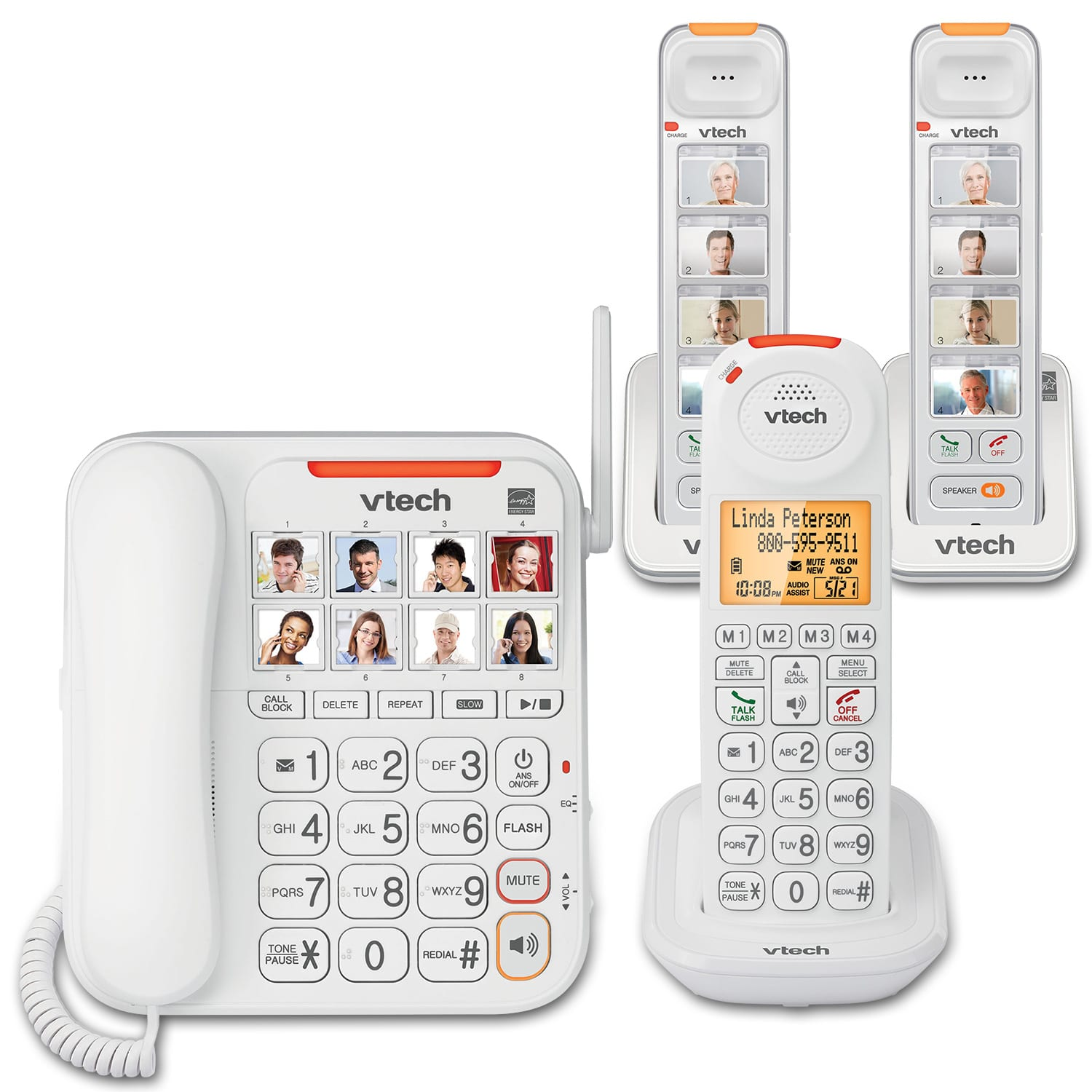 5ad1049fb3b5 3 Handset Amplified Corded/Cordless Answering System   SN5147 + two SN5307    VTech® Cordless Phones
