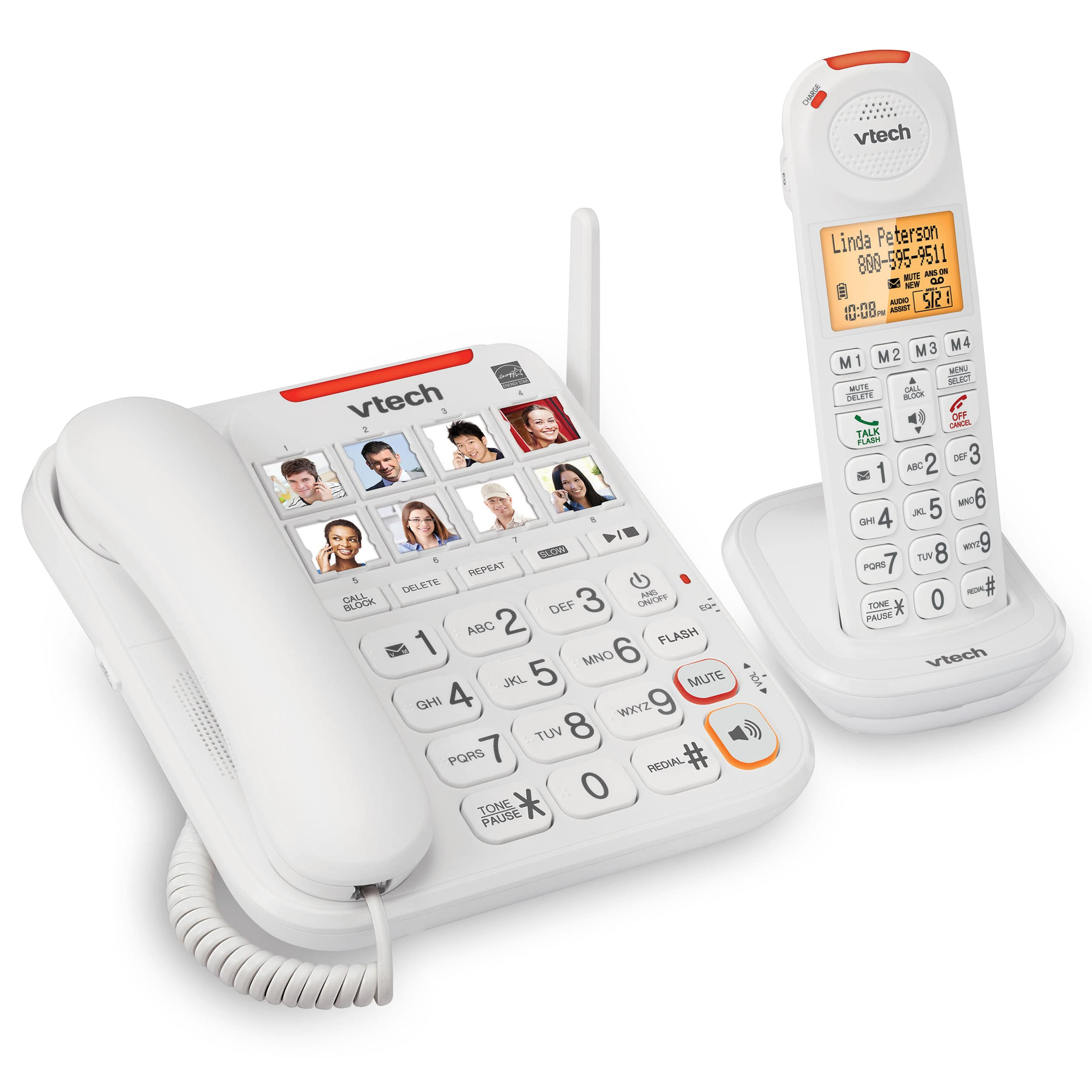 3 Handset Amplified Corded/Cordless Answering System