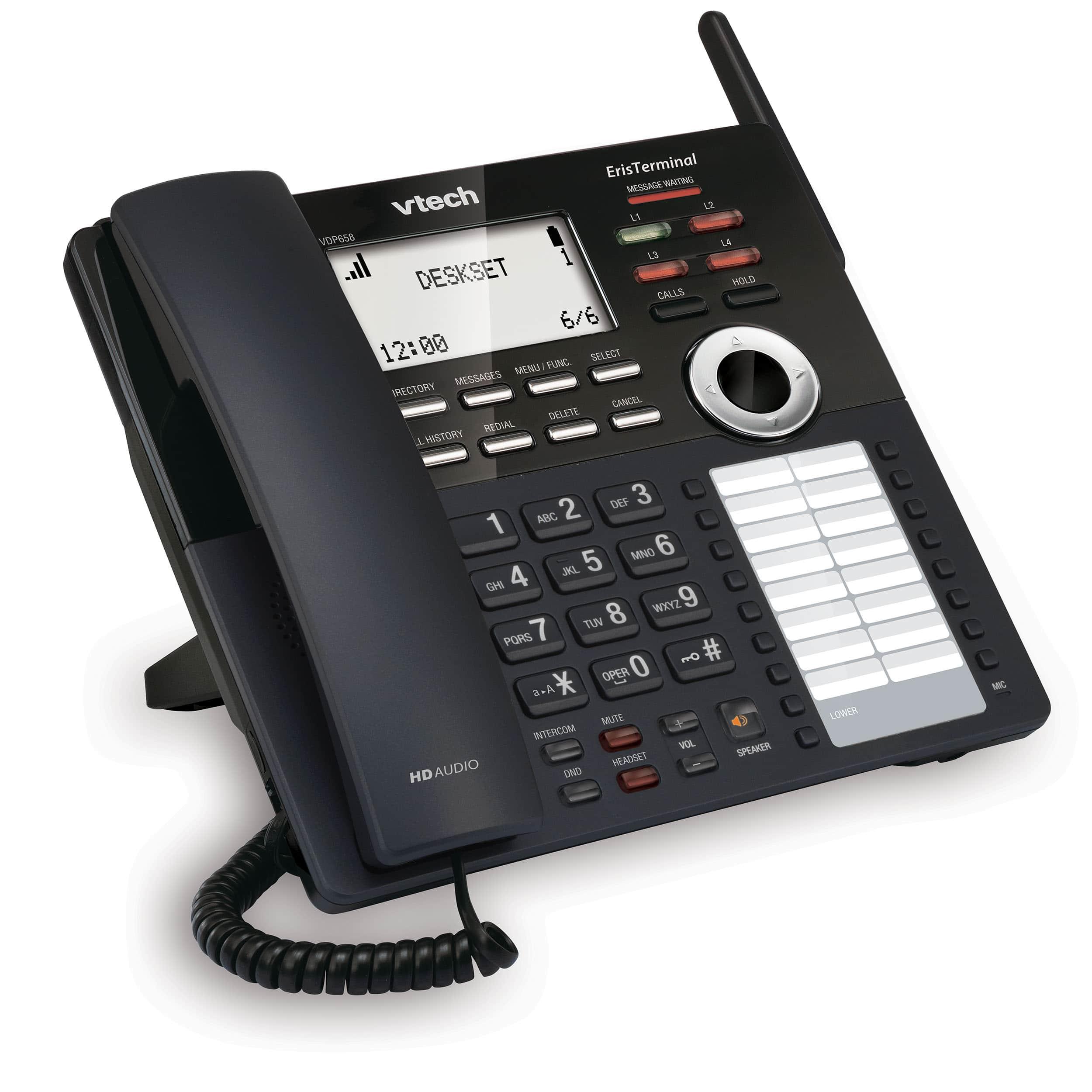 Eristerminal Sip Dect Cordless 4 Line Deskset Vtech Business Phones Wireless Intercom Ac Power Systems Up To 1000 Next