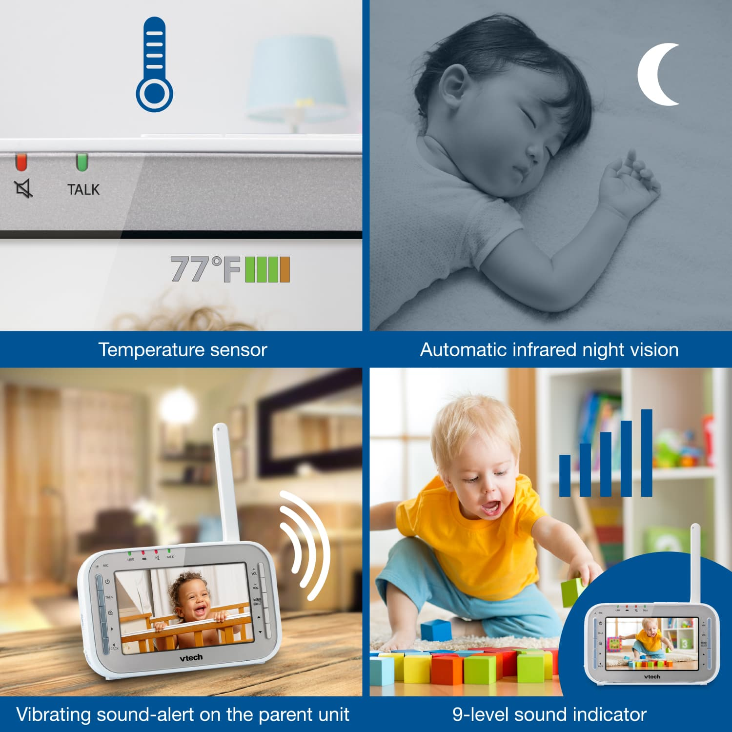 f6ab689b44dcb Baby Monitor - 2 Camera Video Monitor with Wide-Angle Lens and Standard Lens