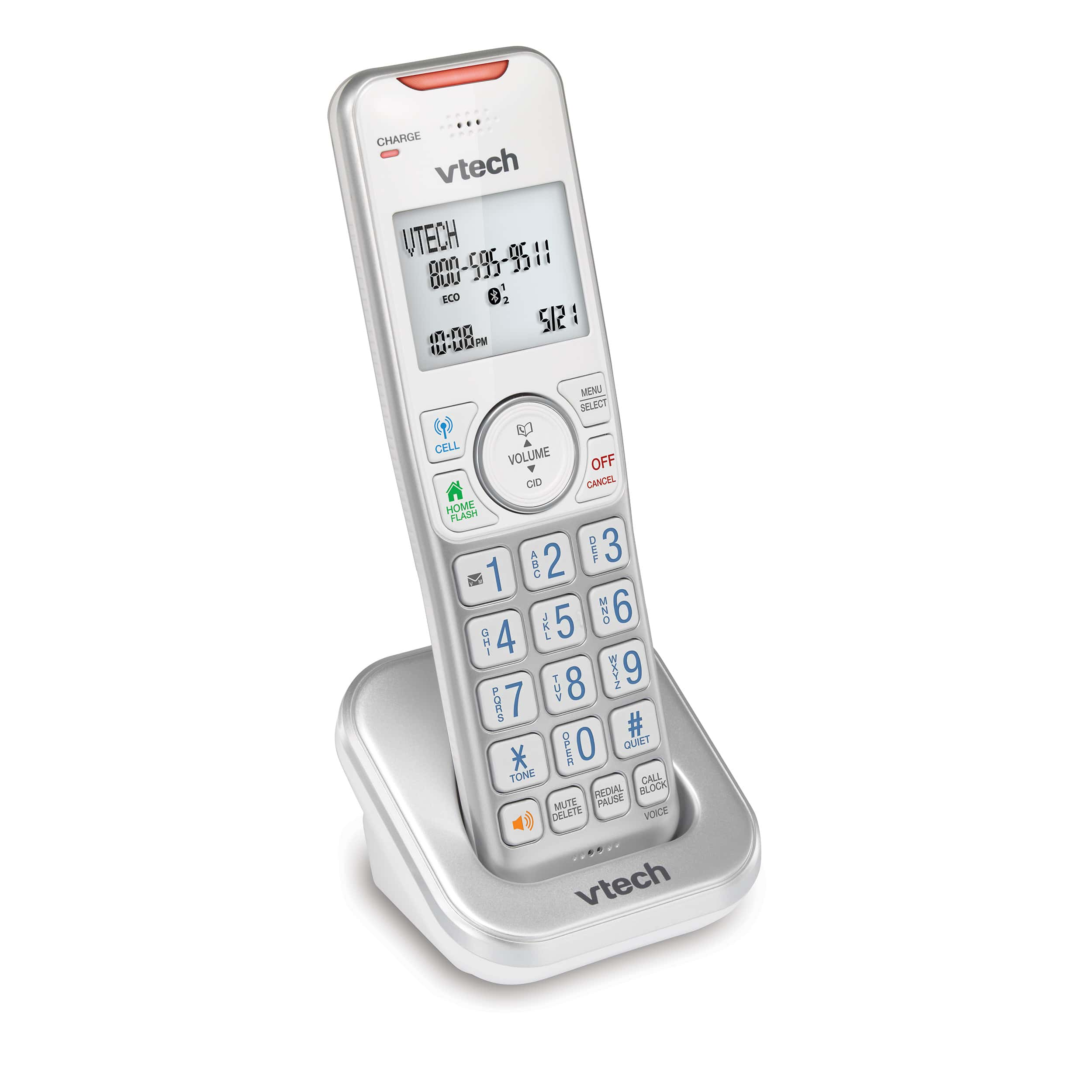 Accessory Handset with Bluetooth Connect to Cell and Smart Call Blocker (Silver & White)