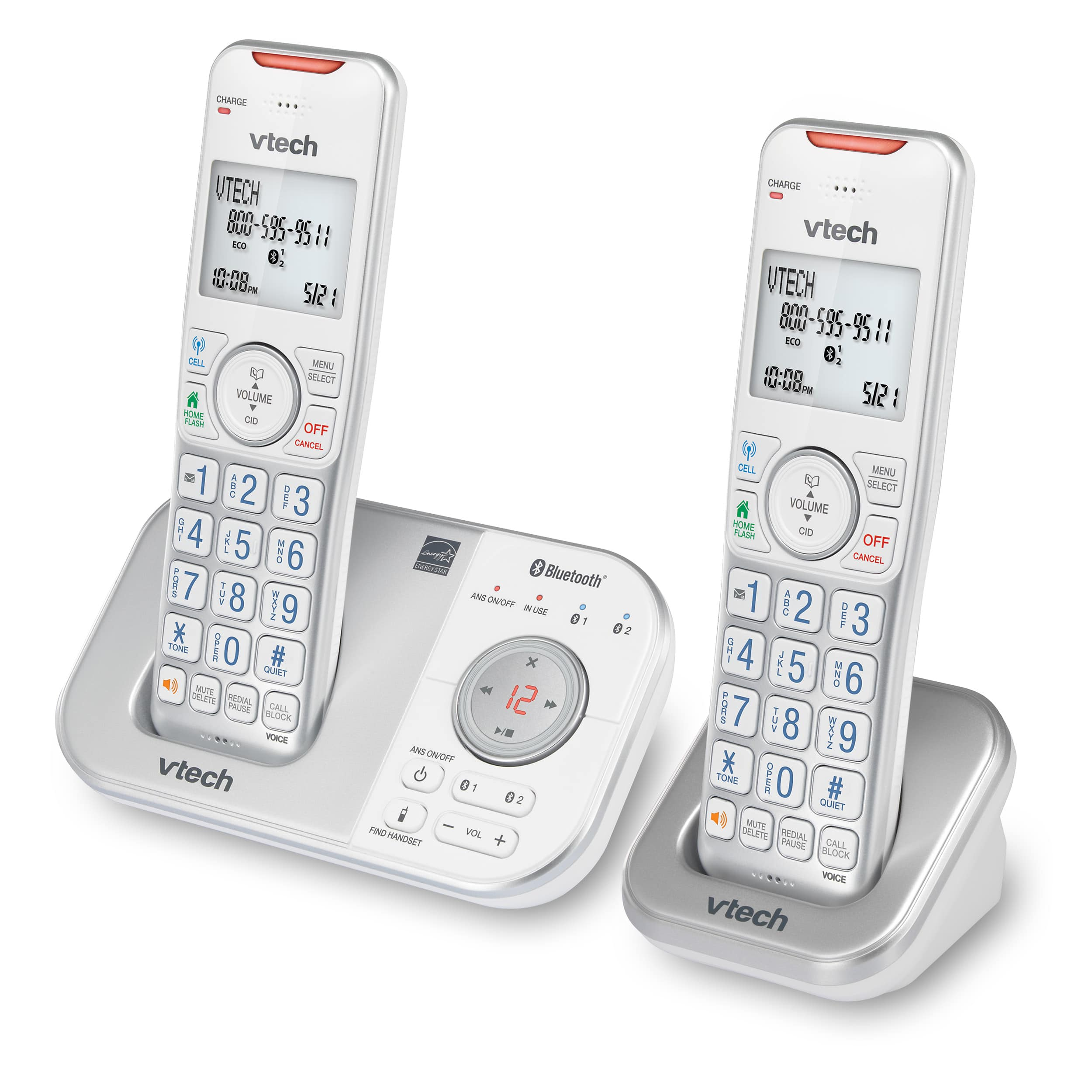 2-Handset Expandable Cordless Phone with Bluetooth Connect to Cell, Smart Call Blocker and Answering System?(Silver & White)