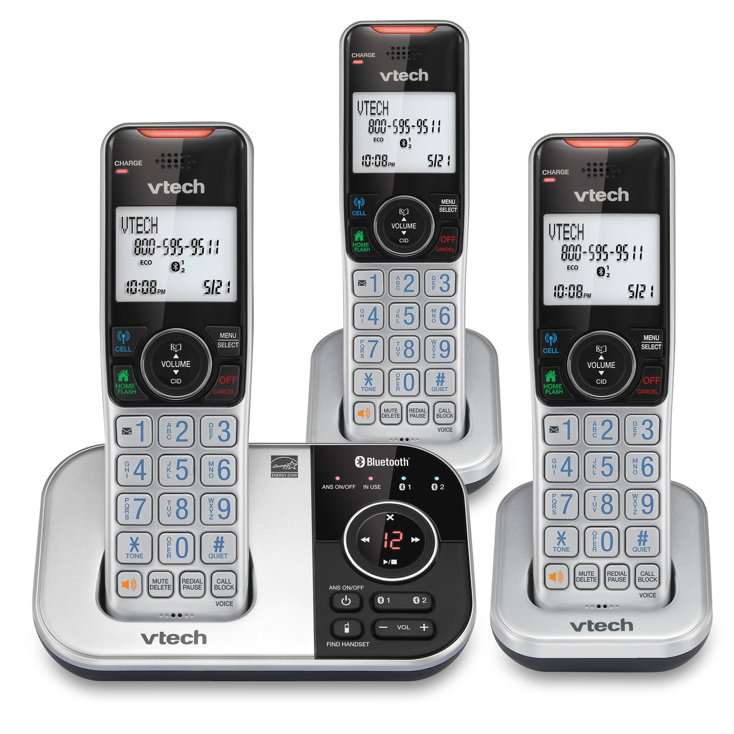 3-Handset Expandable Cordless Phone with Bluetooth Connect to Cell, Smart Call Blocker and Answering System (Silver & Black)