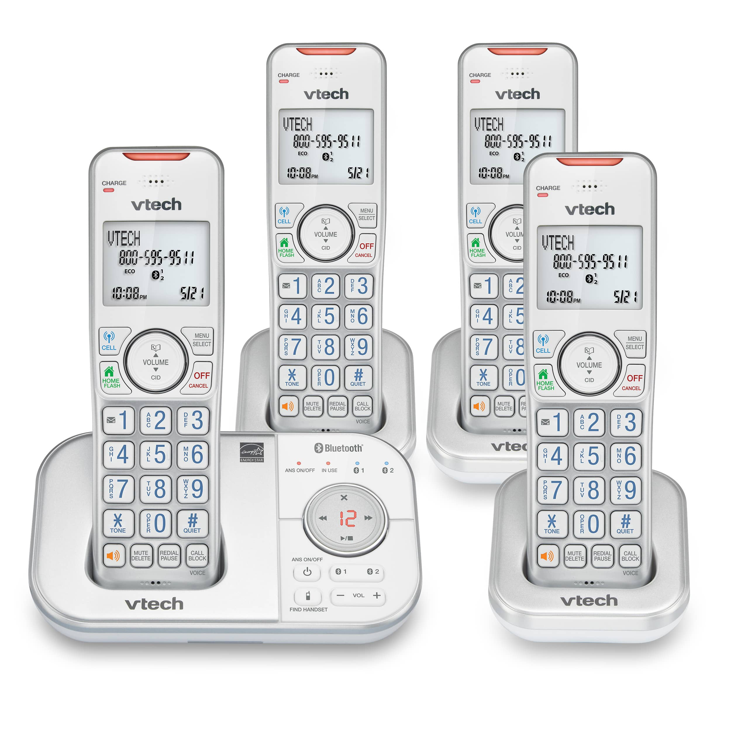 4-Handset Expandable Cordless Phone with Bluetooth Connect to Cell, Smart Call Blocker and Answering System (Silver & White)
