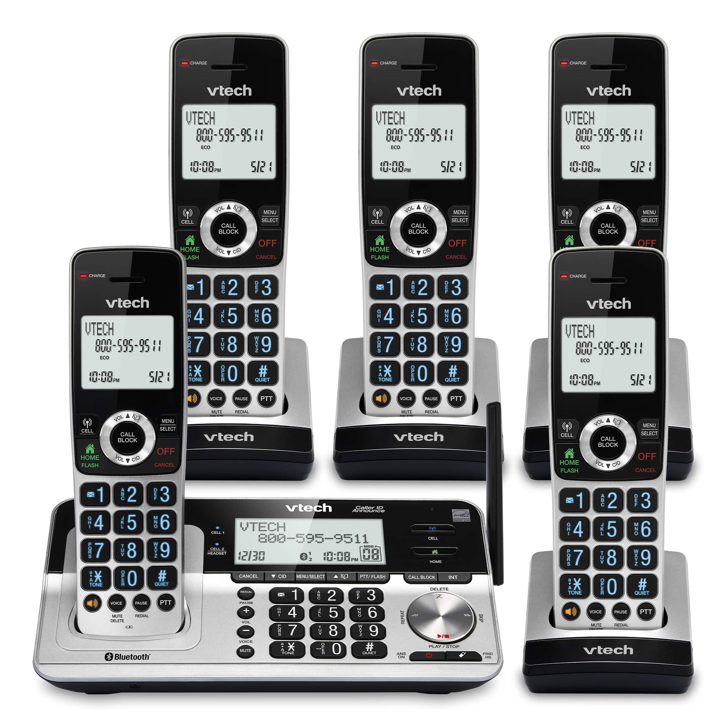 5-Handset Extended Range Expandable Cordless Phone with Bluetooth Connect to Cell, Smart Call Blocker and Answering System